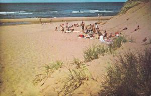 Sun bathers and sand dunes at Cavendish Beach,  P.E.I.,  Canada,  40-60s