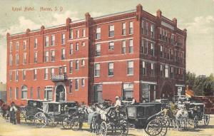 Huron South Dakota~Royal Hotel~Horse Buggy Carriage Traffic Jam~1909 Postcard