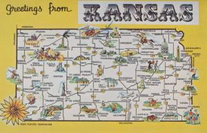 Greetings From Kansas - Map - State Flower Sunflower - pm 1976