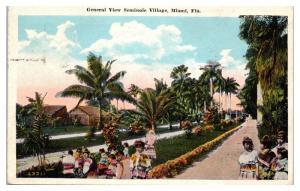 1929 View of Seminole Village, Miami, FL Postcard