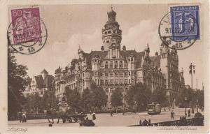 LEIPZIG  Germany INFLATION ERA POSTCARD 1922 with NICE STAMPS