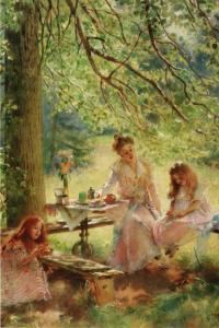 Portrait of daughtes Little Girls Tea Party Time Art Russia Modern Postcard