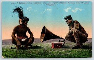 Island of Luzon Philippines~Subuagane & Soldier~Edison Victrola Phonograph~1908