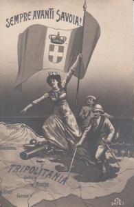 Patriotic Italian Army Colony Lybia Map Tripolitania Italy Avanti Savoia Flag