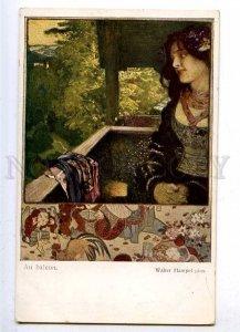 187852 ART NOUVEAU Belle balcony by Walter HAMPEL vintage PC