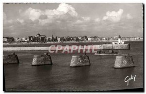 Modern Postcard Les Sables D & # 39Olonne Entree The Harbor And The Beach Boat
