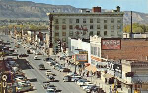 Grand Junction CO Storefronts Movie Marquee Old Cars Postcard