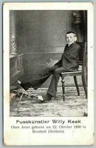 Boostedt Germany~Fusskünstler Willy Kaak~Born Without Arms~Violin~c1910 B&W PC