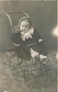 Real Photo~Baby Ewing~Vintage Stroller~Wooden Handle~Knit Booties~1908 RPPC