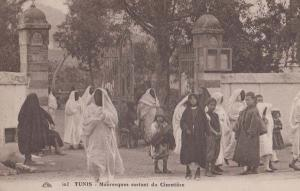 Tunis Tunisia Fashion Cimetiere Cemetary Mosque Mauresques Old Antique Postcard