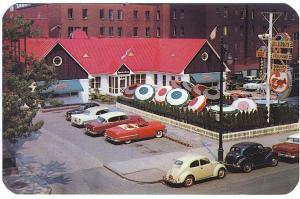 Montreal Quebec Canada Desjardins Sea Food Restaurant Old Cars Postcard