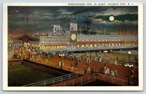 Atlantic City New Jersey~Steeplechase Pier Night Lights~Clock~Full Moon~1923 PC