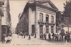 BREST, Finistere, France, 1900-1910's; The Theatre And Aiguillon Street