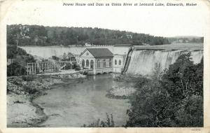 Ellsworth Falls ME~Union River Dam & Power House~Forests on Both Sides~1931 B&W