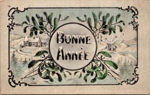 WINTER FRENCH  BONNE ANNEE  POSTCARD - VINTAGE - ARTIST SIGNED