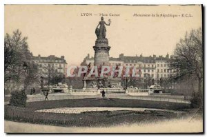 Old Postcard Lyon Place Carnot Monument of the Republic