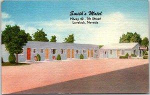 LOVELOCK, Nevada Postcard SMITH'S MOTEL Highway 40 Roadside Linen c1950s Unused