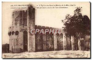 Old Postcard En Provence The Church of Saintes Maries de la Mer which the pri...