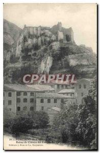Old Postcard Fontaine de Vaucluse Ruins of the castle of the Bishops