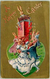 Vintage 1910s A HAPPY EASTER Postcard DRESSED RABBITS Bunnies Dancing Music