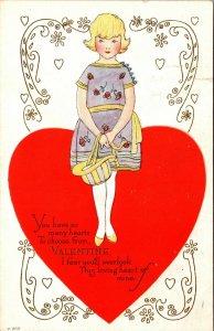 Art Deco Valentine message Vintage GIRL DRESS HAT - VINTAGE Postcard