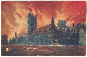 Belgium, YPERS, YPRES, Cathédrale Saint Martin's Cathedral burning, Les Halles