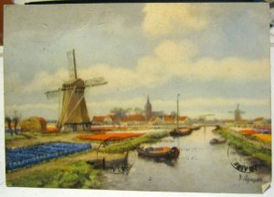 Netherlands Art Bulb Fields Windmill Canals - posted 1948