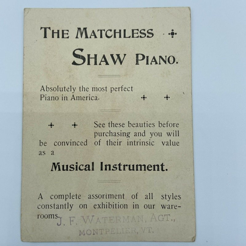 Shaw Piano J F Waterman Agt Montpelier VT Vermont Girl Tea Cups Trade Card
