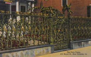 The Corn Fence, New Orleans, Louisiana, Early Linen Postcard, Unused