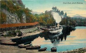Loch Katrine UK~Steamboat Coming to Dock at the East End 1910