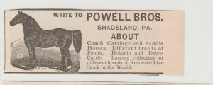 Powell Bros Horses Antique 1800s Ad, Shadeland PA