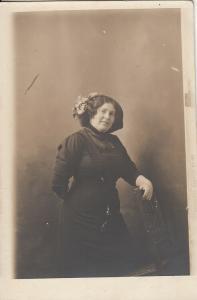 Portrait of a woman early photo postcard Budapest Rakoczi ut 40
