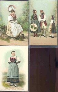 pc731 postcard Switzerland Costumes THREE all MOBSC
