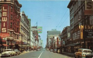 Memphis Tennessee 1954 Postcard Main Street with the Gayoso Hotel Theatre