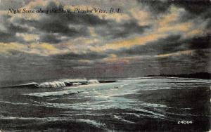 Pleasant View Rhode Island Waterfront At Night Antique Postcard K80955
