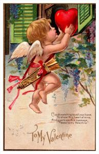 Valentine  Cupid with Arrows, deliverying Heart