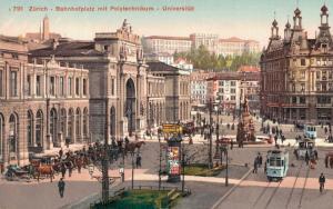 Switzerland Zürich Bahnhofplatz mit Polytechnikum Universitat 02.94