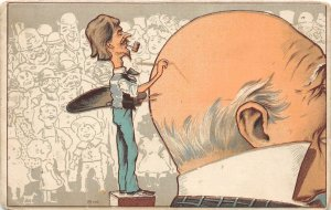 G19/ Interesting Postcard c1910 Comic Artist Painting Bald Head Man Crowd