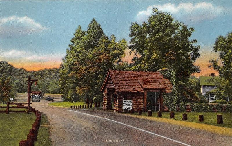 Marshall Indiana~Turkey Run State Park Entrance~Log Cabin~Stop Sign~1940s