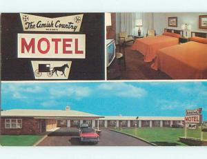 Unused Pre-1980 OLD CARS & AMISH COUNTRY MOTEL Bird-In-Hand PA u6762-22