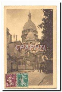 Paris (18th) Old Postcard Montmartre partial view of the Sacre Coeur