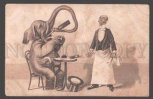 098374 Dressed ELEPHANT Top Hat & Waiter RESTAURANT Vintage PC