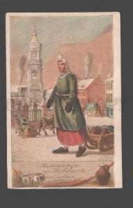085109 RUSSIA Street traders MILK by GEYSLER vintage LITHO PC