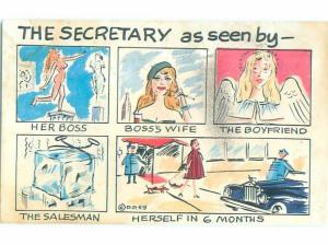 1959 Risque Comic MANY DIFFERENT VIEWS OF THE SECRETARY AB6936
