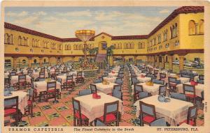E18/ St Petersburg Florida Fl Postcard c1940s Tramor Cafeteria Cafe Interior