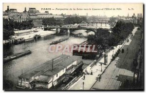 Old Postcard Perspective Paris from the Seine to the Louvre and I City Hotel ...
