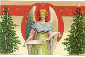 Vintage Christmas Postcard Embossed Angel Candlelit Christmas Trees ca 1907