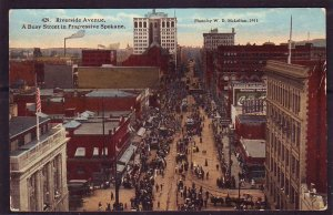 P1446 old unused postcard riverside ave street scene progressive spokane wash