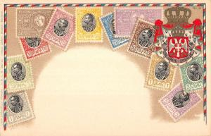 Serbia Stamp And Crest Collage Greeting Antique Postcard K16600