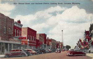 Laramie Wyoming~Second Street North~Safeway~The Hub~Cafe~1950 Postcard